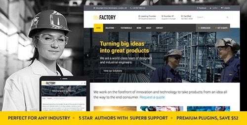 ThemeForest - Factory v1.3 - Industrial Business WordPress Theme - 14026307
