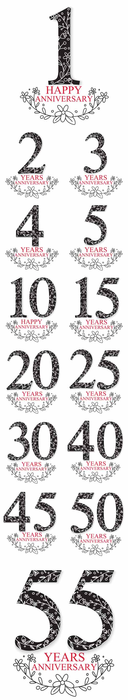 Vector Anniversary Celebration Design with Decorative Floral Elements