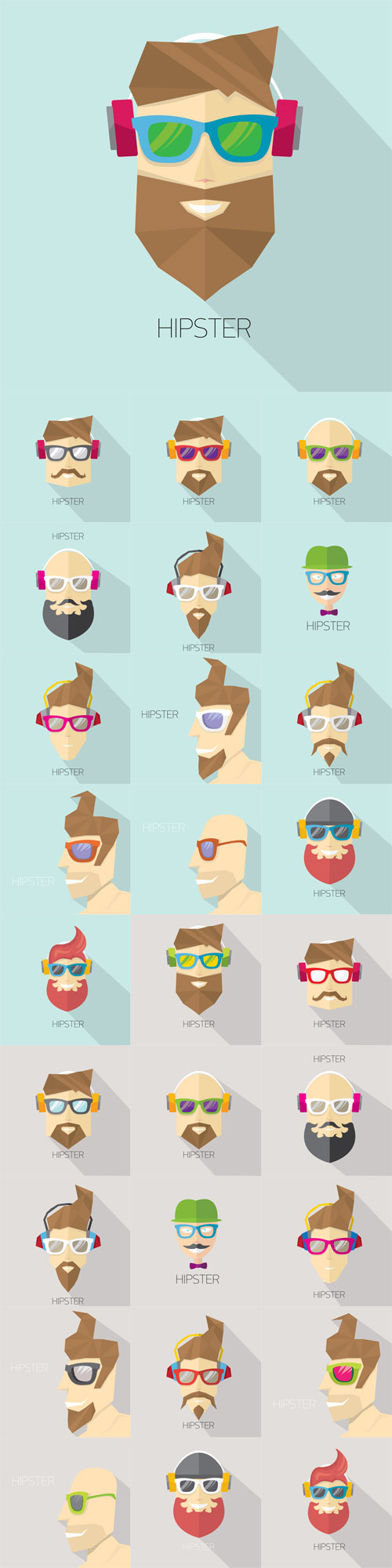 Vector Hipster Man Icons