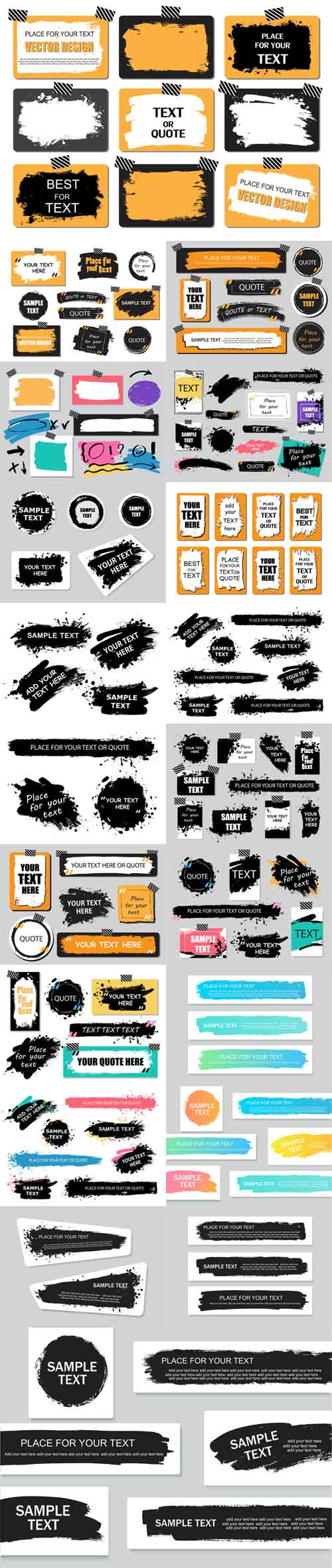 Vector Quote or Text Boxes Collection. Hand Drawn Frames Square Rectangle and Round Shapes
