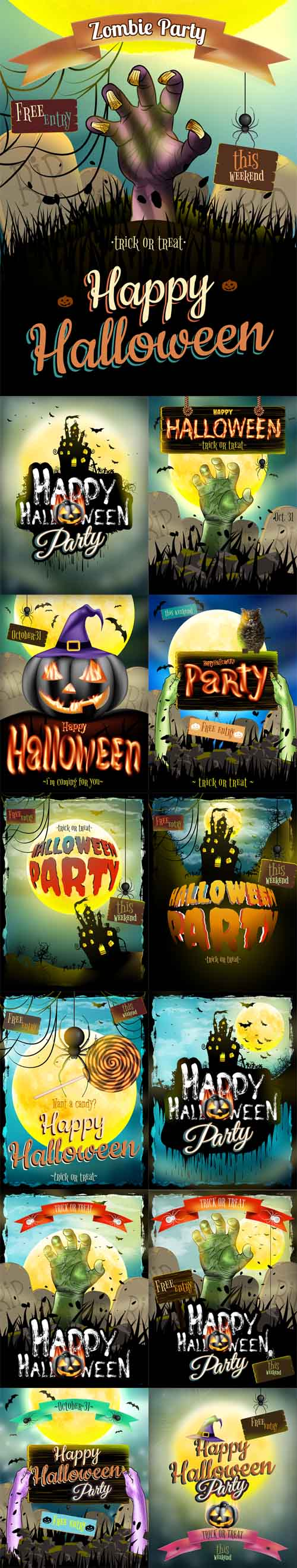 Vector Halloween Posters for Holiday