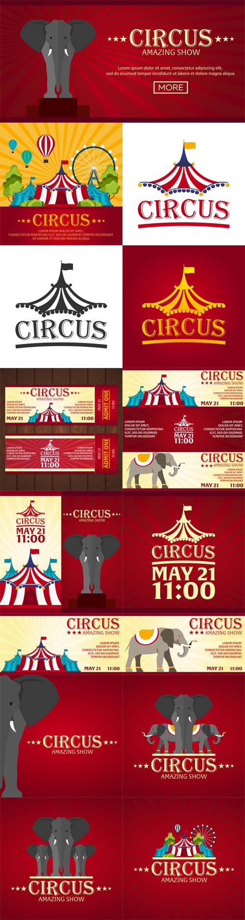 Vector Circus Banners, Tickets. Flat Design