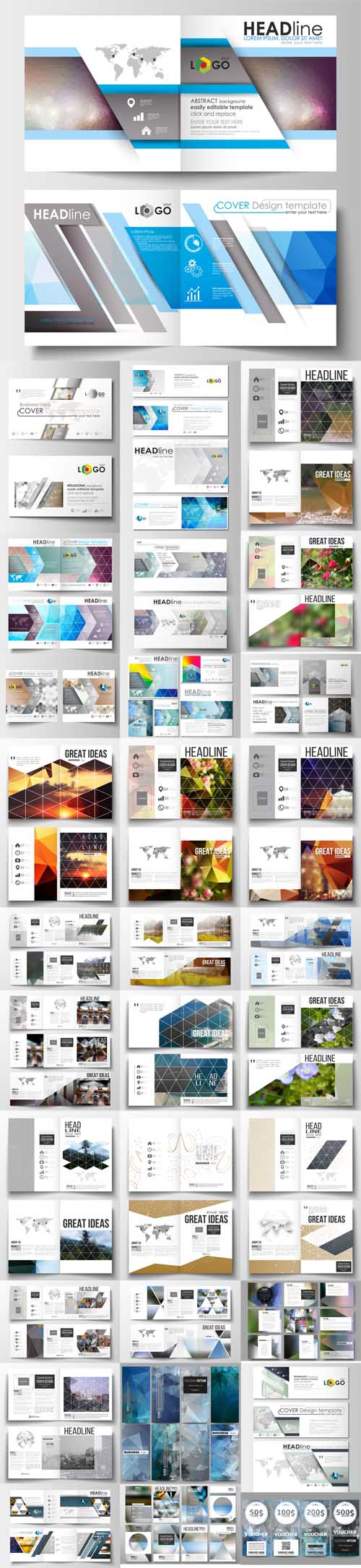 Vector 32 Annual report business templates for brochure, magazine, flyer or booklet 3