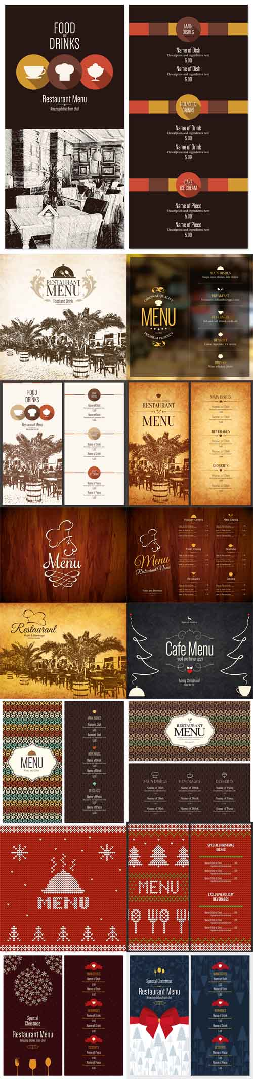Vector Restaurant menu design, brochure template for cafe, coffee house, restaurant, bar