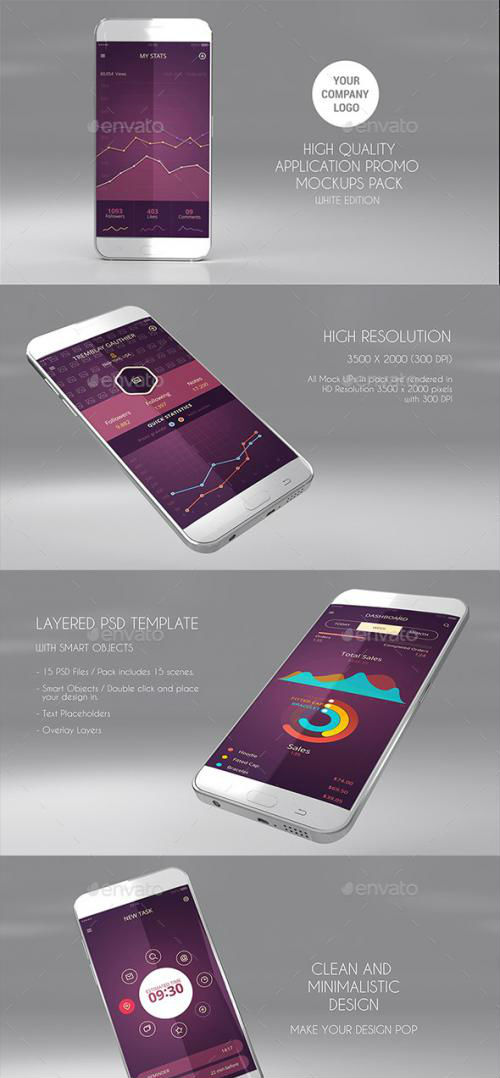 15 App Promo Mock Ups Pack (White Edition) - 17568243