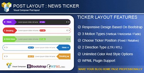 CodeCanyon - Post Layout : News Ticker for Visual Composer v2.5 - 8535779