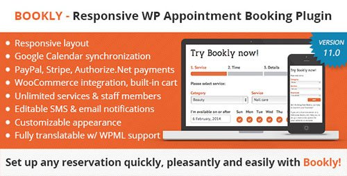 CodeCanyon - Bookly Booking Plugin v11.0 - Responsive Appointment Booking and Scheduling - 7226091