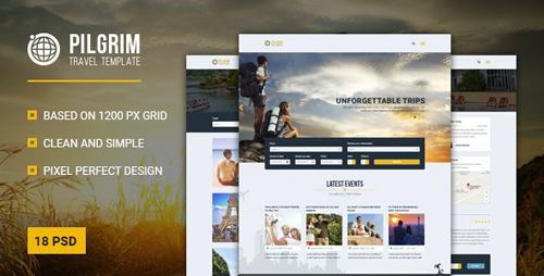Pilgrim — Travel Agency/Tour Operator/Travel Booking PSD Template 17070254