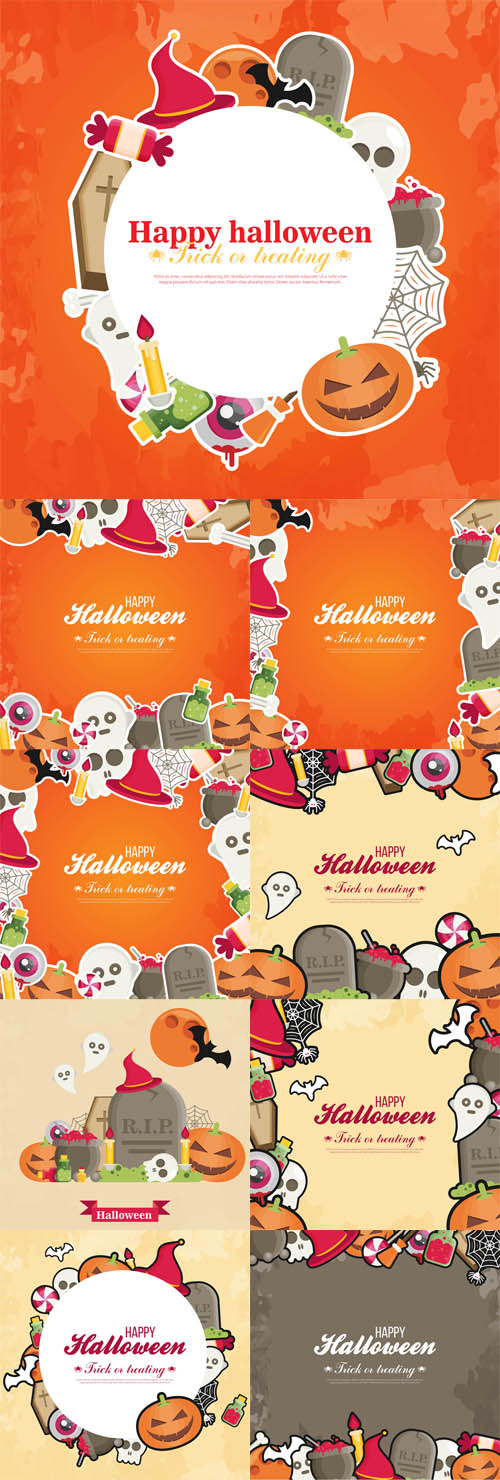 Vector Halloween Concept Banners With Flat Icon Set on Orange Textured