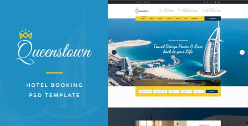 QueensTown : Hotel Booking PSD Template 16876013