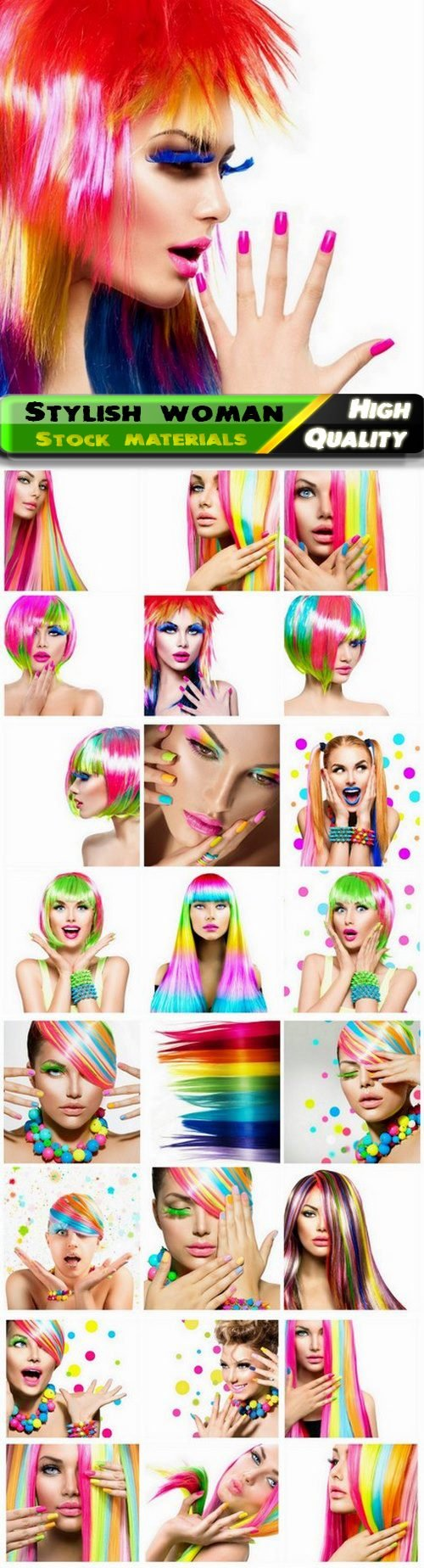 Stylish woman and fashion girl with colorful hair and makeup - 25 Jpg