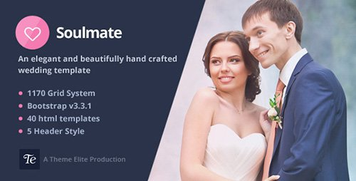 ThemeForest - Soulmate v1.0 - Responsive Bootstrap 3 Wedding Template - 10783980