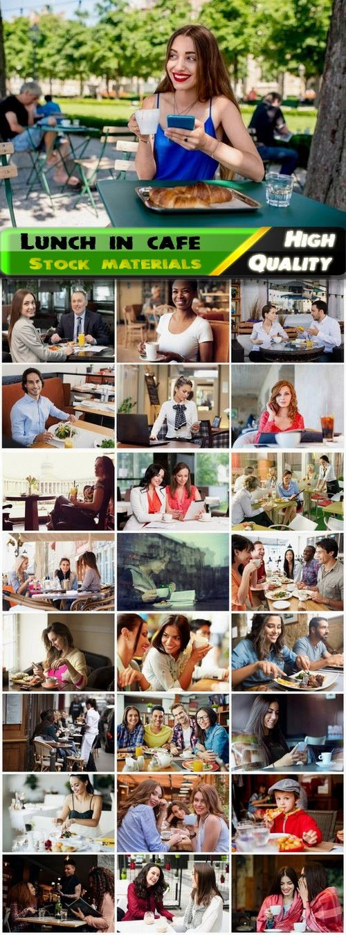 People in good mood have lunch in cafe or restaurant - 25 HQ Jpg