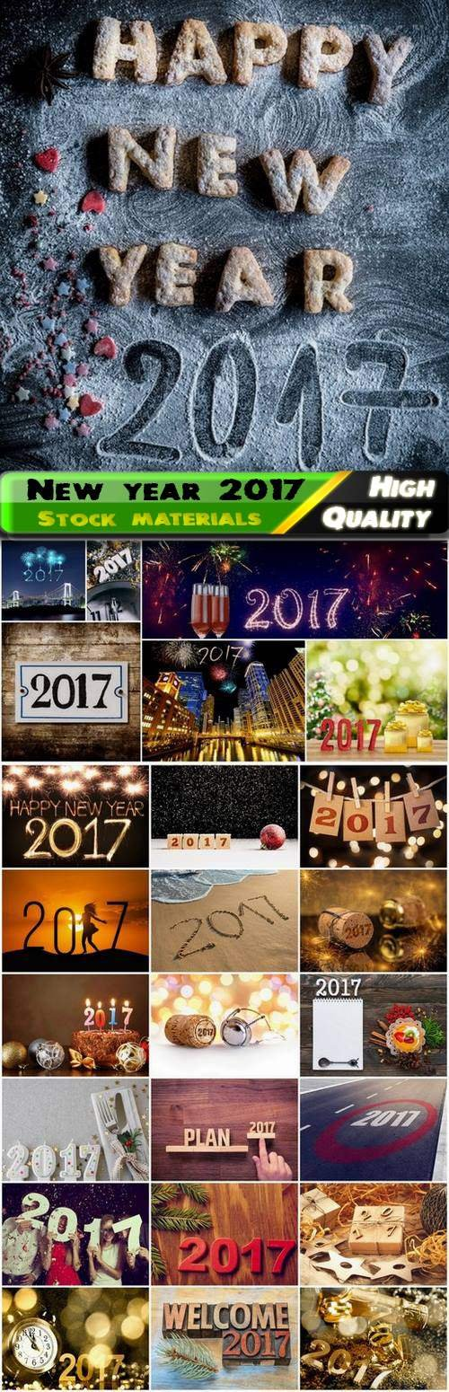 Holiday new year background with 2017 signs and symbol - 25 HQ Jpg