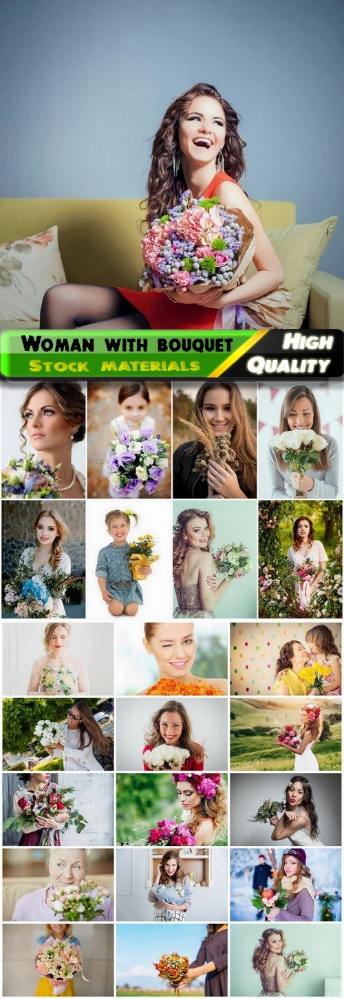 Beautiful happy woman and girl with bouquet of flowers - 25 HQ Jpg