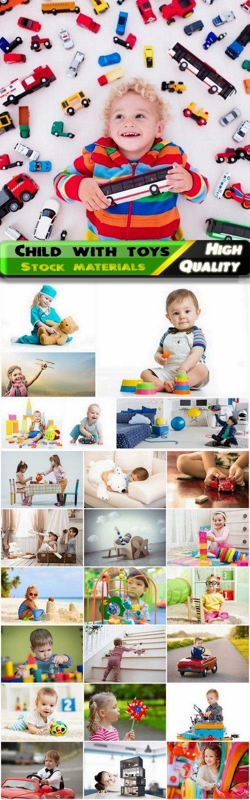 Happy child and kids play with toys - 25 HQ Jpg