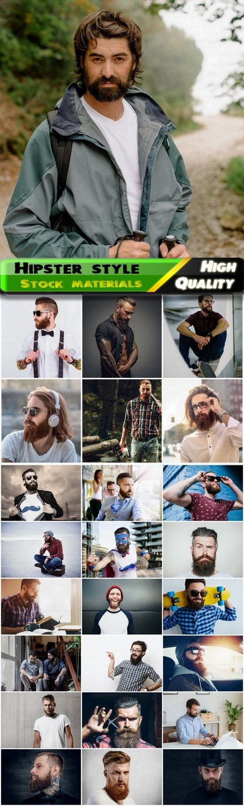 Man and teenager with beard and mustache in hipster style 25 HQ Jpg