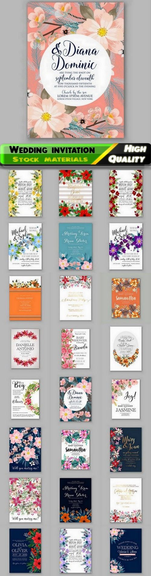 Cute wedding invitation and baby shower floral card - 25 Eps