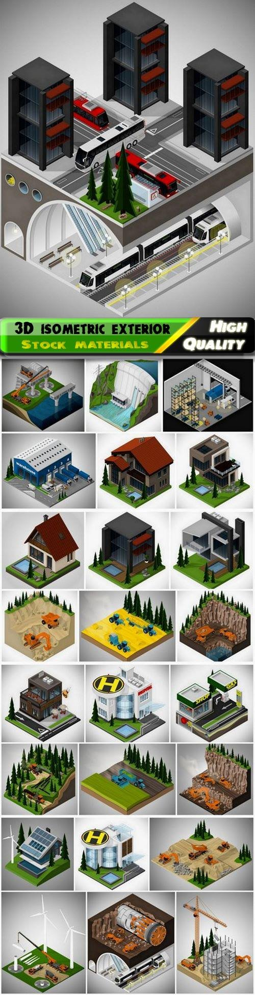 3D isometric exterior buildings and nature landscape and field 25 Eps
