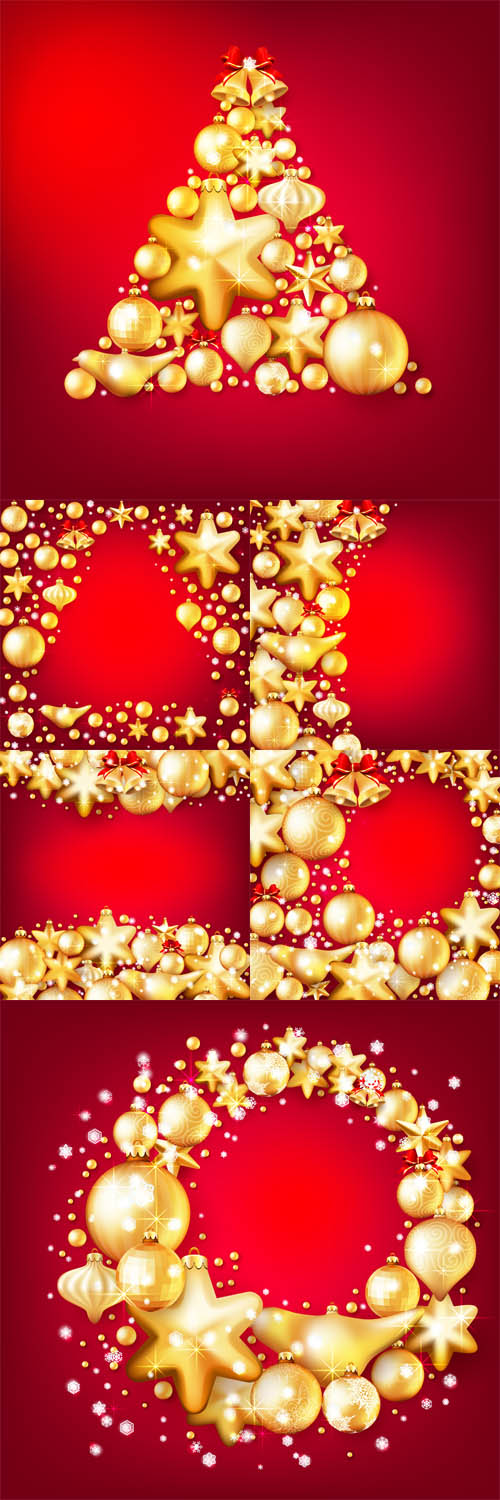 Vector Red and Gold Christmas Backgrounds