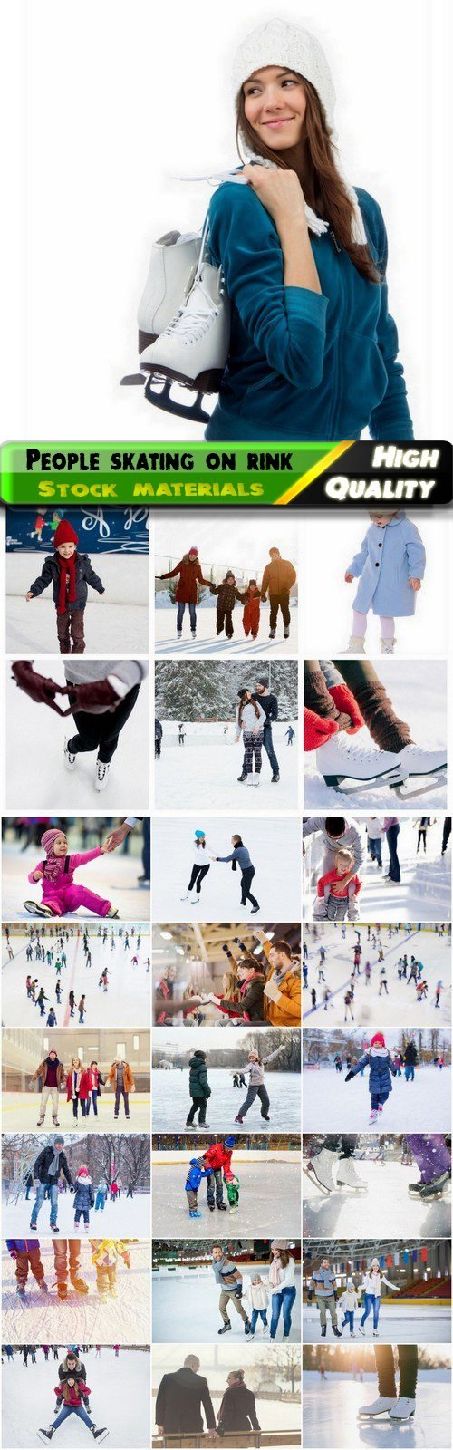 Sport people relax skating at the rink in skates - 25 HQ Jpg