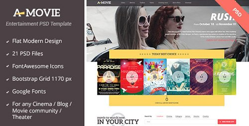 ThemeForest - A.Movie v1.0 - Cinema/Movie PSD Template - 6124712