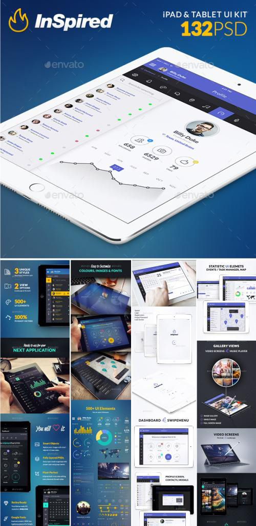 GR - InSpired - iPad & Tablet App Design UI Kit 13045986