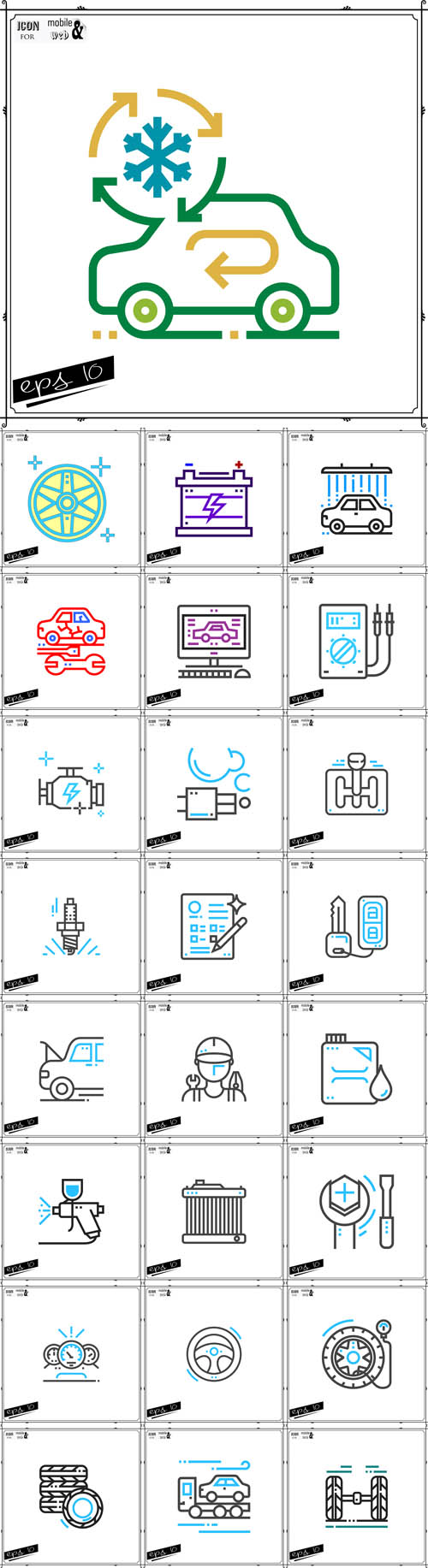 Vector Automobile Line Icons