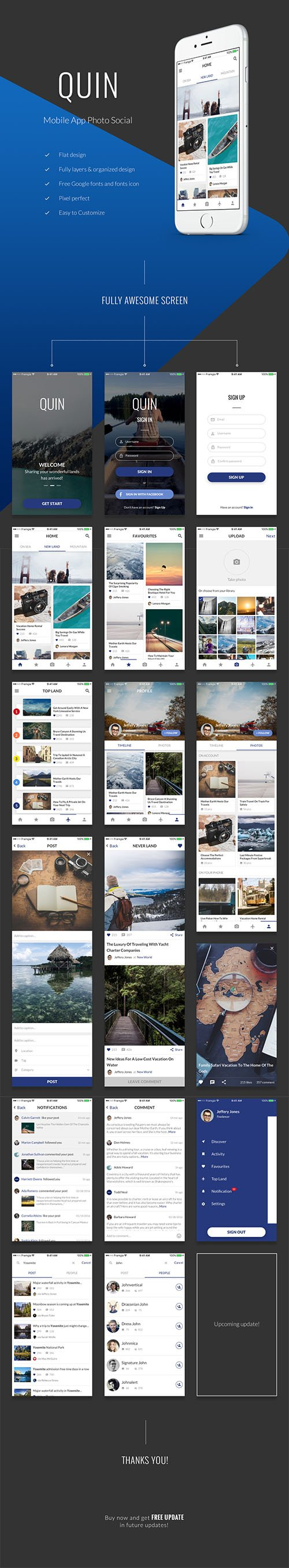 QUIN UI Kit - Photo & Social Mobile Application UI Kit