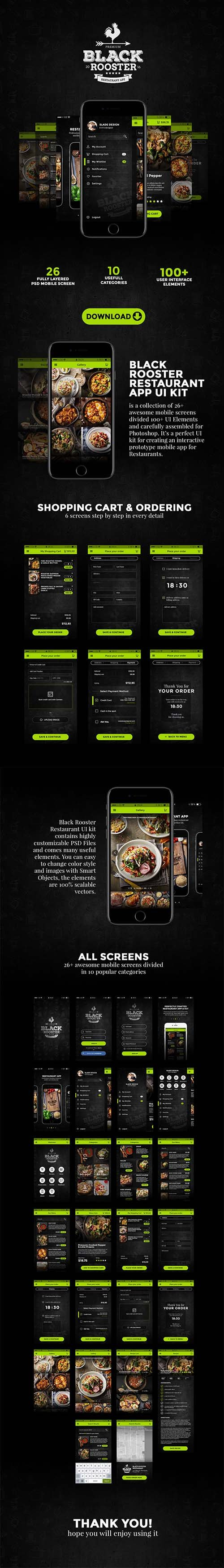 Black Rooster - Professional Restaurant App UI Kit