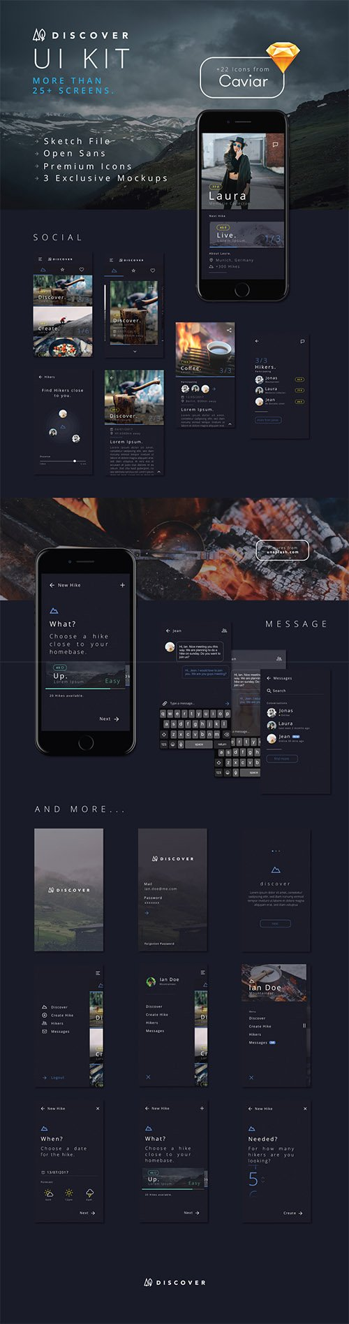 Discover UI Kit - 27 Premium iOS screens & 22 icons by Caviar