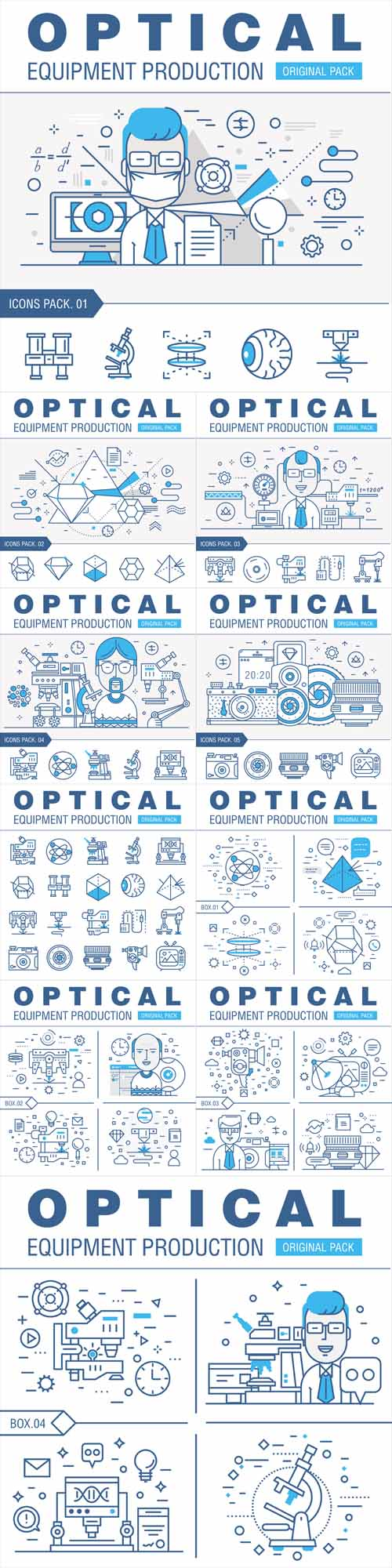 Vector Modern Optical Development Flat Industry. Thin Line Laboratory