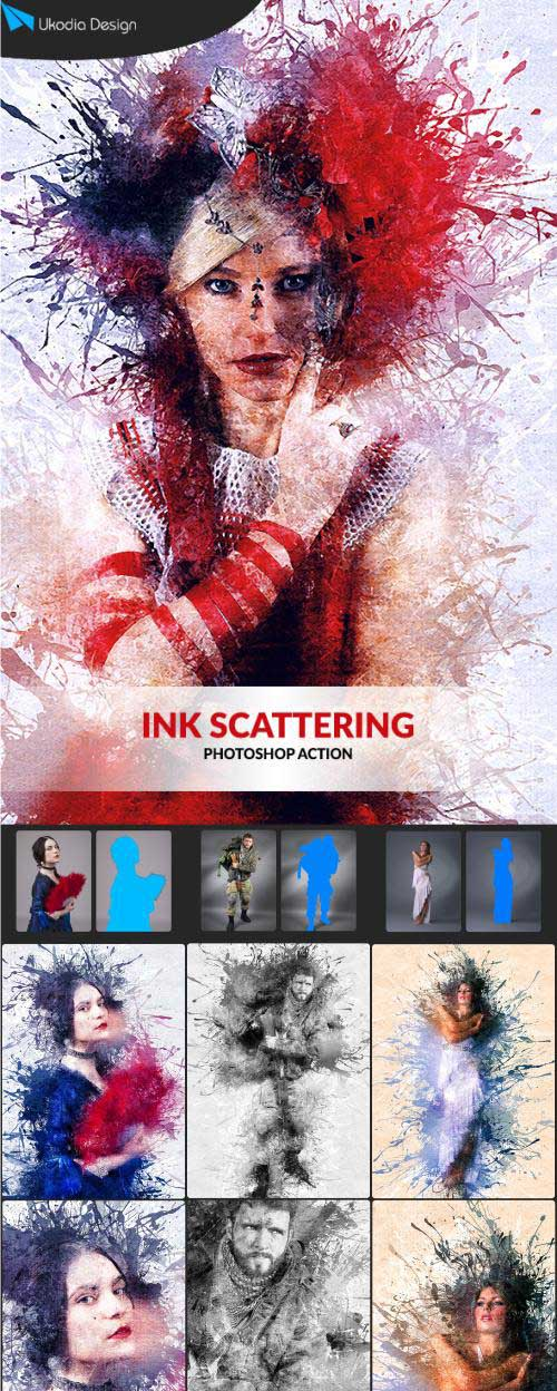 GR - Ink scattering Photoshop Action 18524094