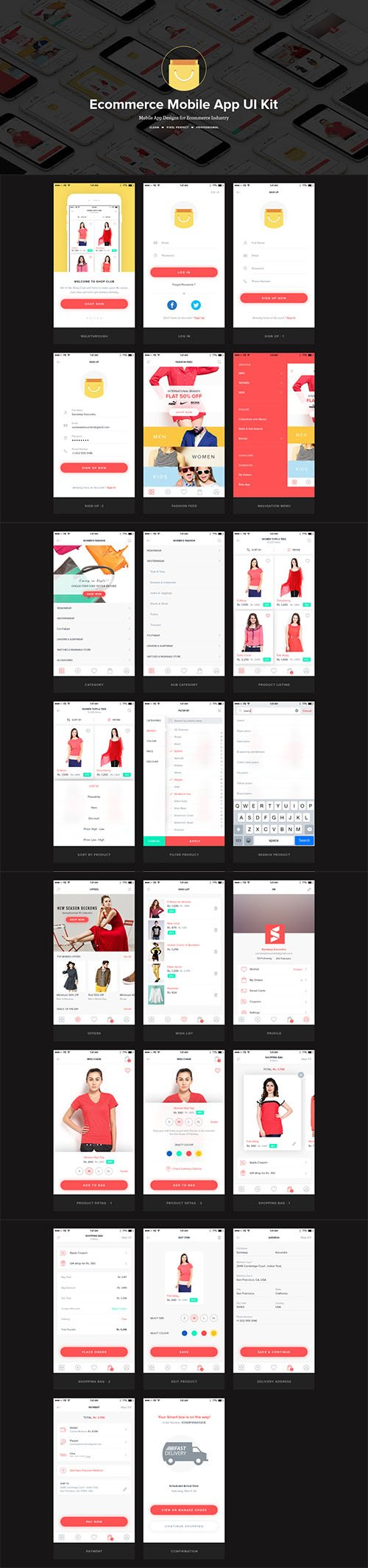 Ecommerce Mobile UI Kit - Professional clean mobile UI Kit