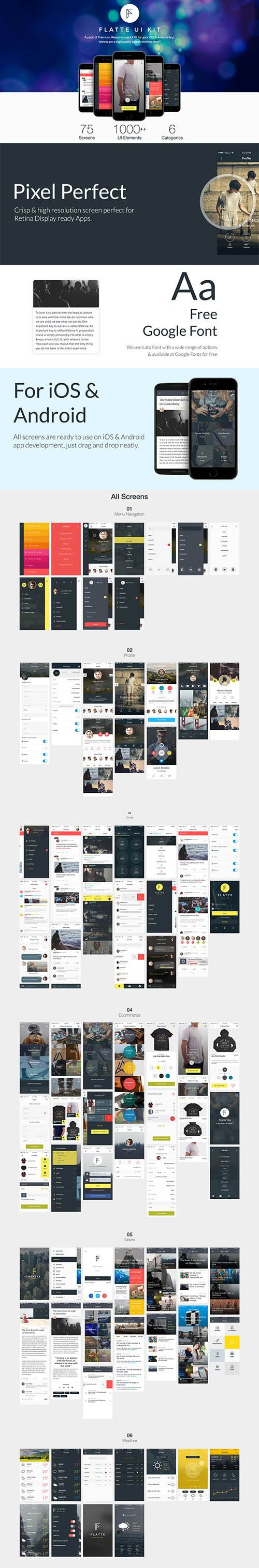 Flatte UI Kit - 75 Screen iOS Mobile App UI Kit