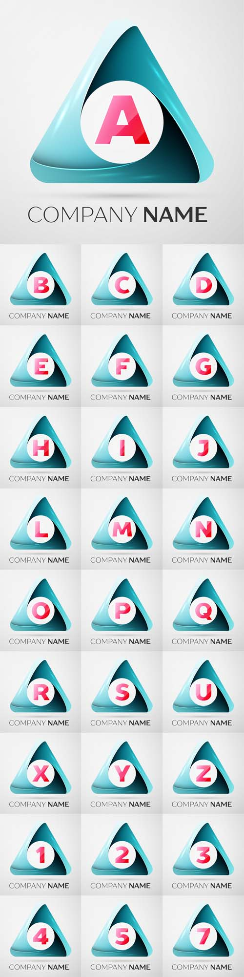 Vector Letters and Numbers logo symbol in the colorful triangle on grey background