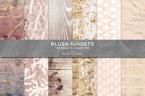 Textures - Blush Sunsets Rose Gold & Watercolor