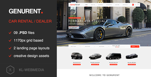 Genurent - Car Rental Service PSD Template 15232992