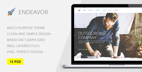 Endeavor — Multipurpose IT/Digital Company PSD Template 15800835