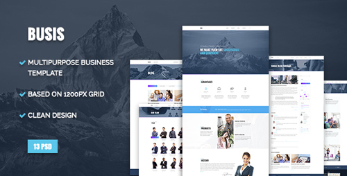 Busis — Clean Multipurpose Business & Corporate PSD Template 16470434