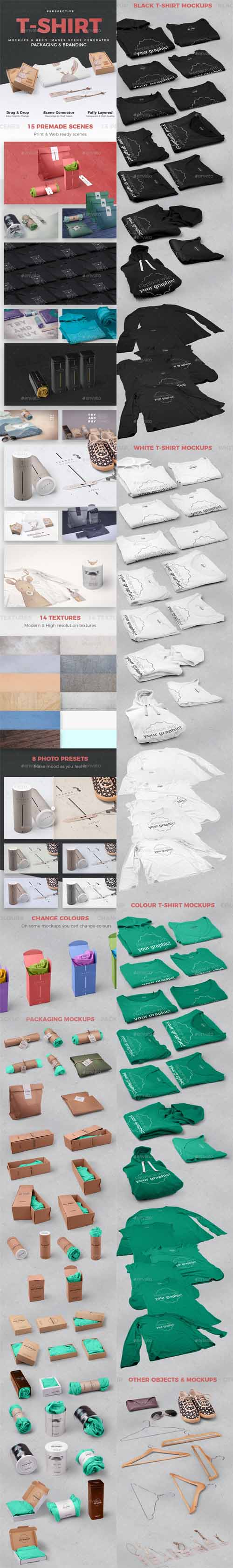 T-shirt and Packages Mockups and Hero Images Scene Generator / Perspective View / 19219184