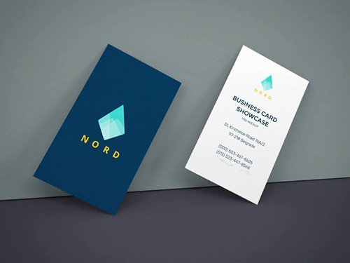 PSD Mock-Up - Business Cards On Wall