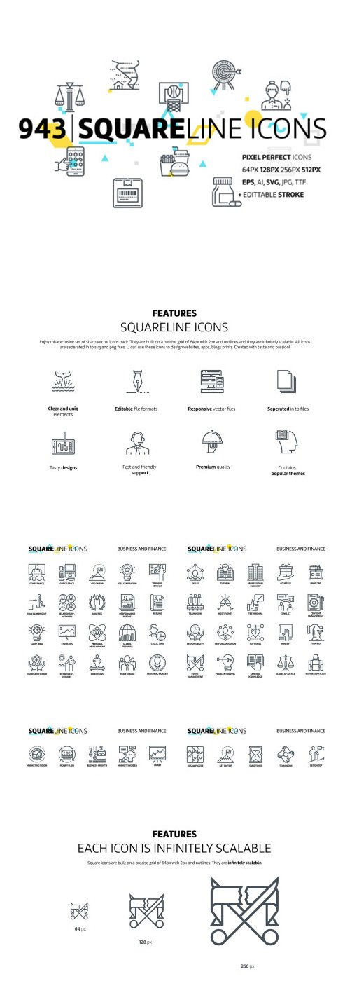Squareline Icons - 943 Unique Squareline Icons