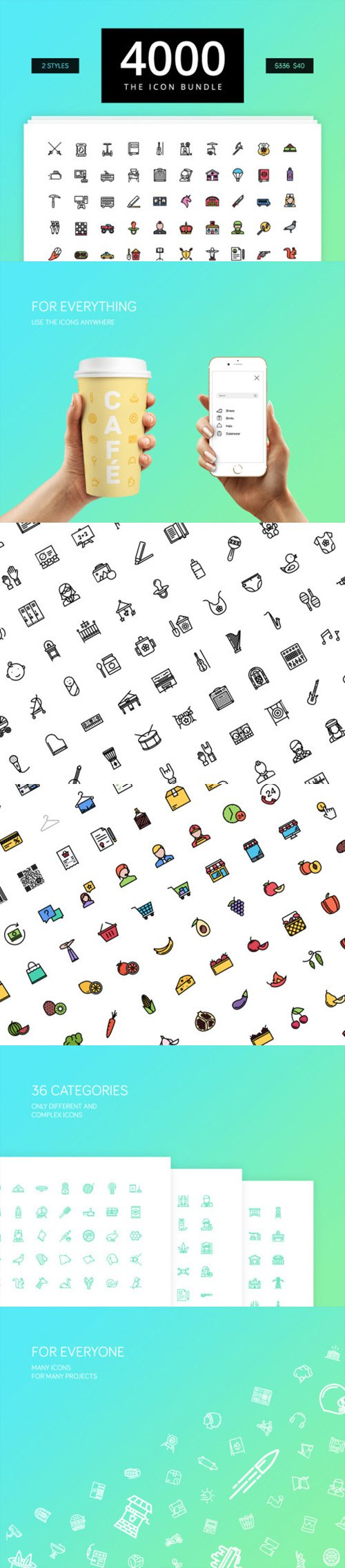 The Icon 4000 - 4000 Outline & Color Icons
