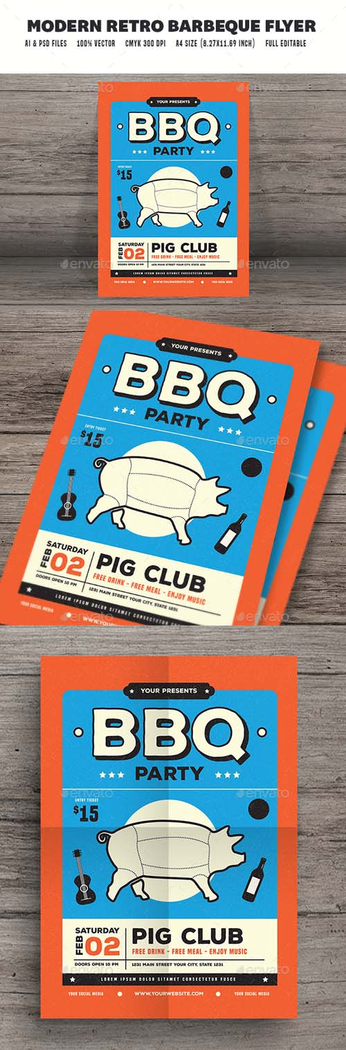 Modern Retro Barbeque Flyer 19274952