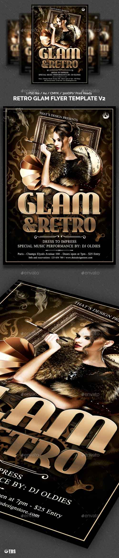 Retro Glam Flyer Template V2 7669510