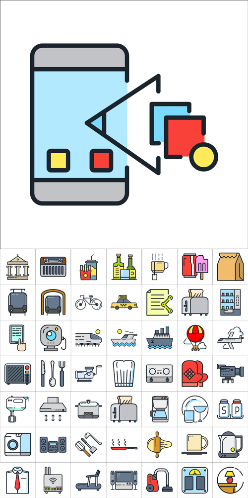 Vector Colorful Different Line Icons 2