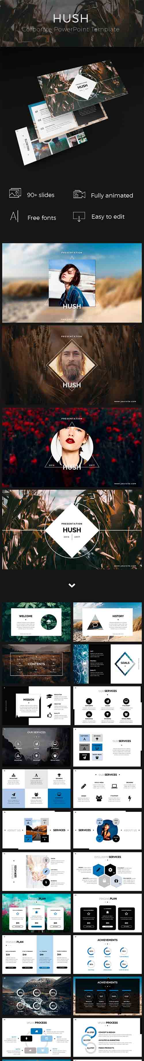 Hush PowerPoint Template 19244414