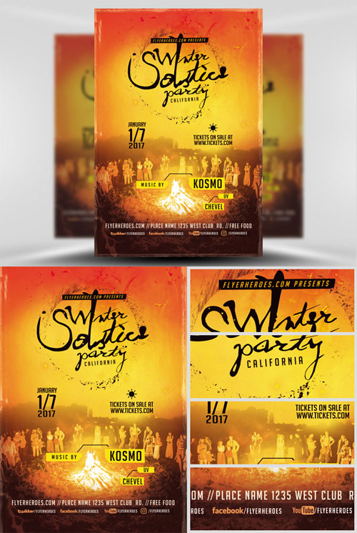 Flyer Template - Winter Solstice Party