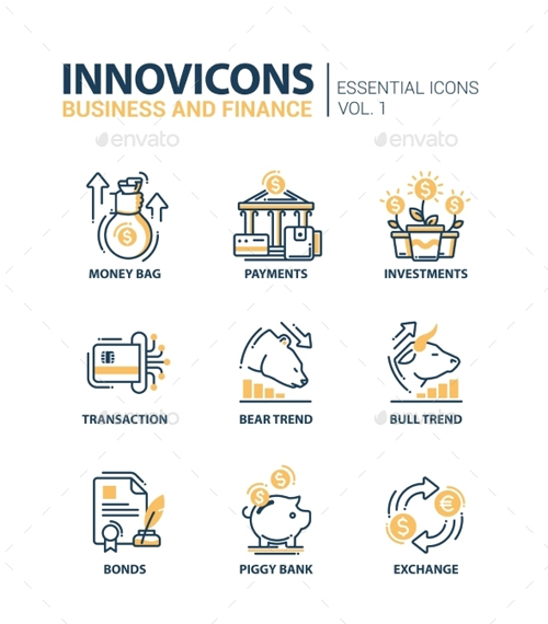 Set Of Modern Office Thin Line Flat Design Icons 13794087